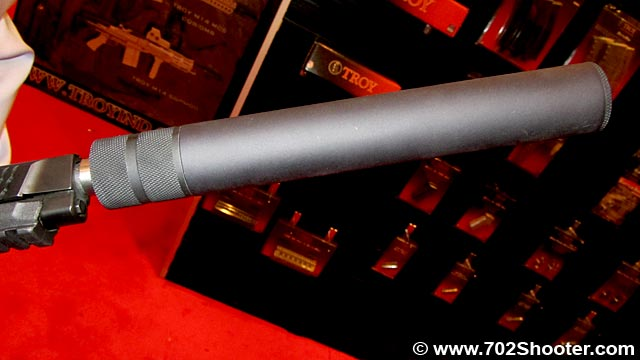 TroyIndustriesSupressor Troy Industries Delta BattleRail, Squid Grip, & Suppressors at 2012 Shot Show