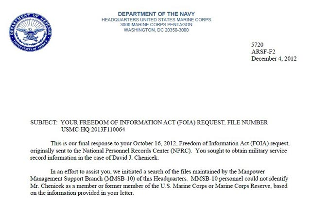 Freedom of Information Act File Number: USMC-HQ 2013F110064